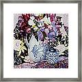 Sweet Peas In A Blue And White Jug With Blue And White Pot And Textiles  Framed Print by Joan Thewsey