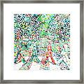 The Beatles Abbey Road Watercolor Painting Framed Print by Fabrizio Cassetta