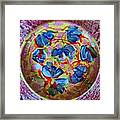 The Pink And Blue Plate Framed Print by Martha Nelson
