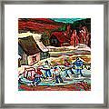 Vermont Pond Hockey Scene Framed Print by Carole Spandau