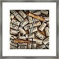 Wine Corks On A Wooden Barrel Framed Print by Paul Ward