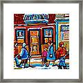 Winter Street In Saint Henri Framed Print by Carole Spandau