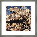 A Fossilized T. Rex Bursts To Life Framed Print by Mark Stevenson