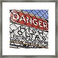 Danger High Voltage Sign In Cocoa Florida Framed Print by Mark Williamson