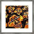 Faces Yellow Framed Print by Karen Elzinga