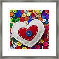 Heart Buttons Framed Print by Garry Gay