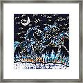 Horses Frolic On A Starlit Night Framed Print by Carol Law Conklin
