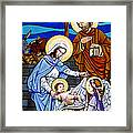 Nativity At Valley Ranch Framed Print by Joan Garcia