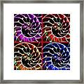 Nautilus Shell Ying And Yang - Electric - V1 - Four Squares Framed Print by Wingsdomain Art and Photography