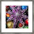 Purple Christmas Star Framed Print by Garry Gay