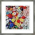 Red Lips Button Framed Print by Garry Gay
