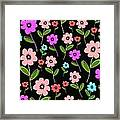 Retro Florals Framed Print by Louisa Knight