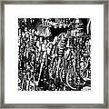 Rows Of Metal Shisha Pipe Arabic Tobacco Smoking Water Pipes On A Stall In The Market In Nabeul  Framed Print by Joe Fox