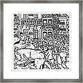 Running Of The Bulls 3 Framed Print by Karen Elzinga