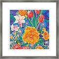 Silk Blooming Flowers Framed Print by Sandra Fox