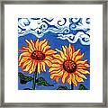 Two Sunflowers Framed Print by Genevieve Esson
