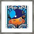 Umgx Vintage Studios Blues Orange Punk Illustrated Stamp Art Framed Print by David Cook  Los Angeles Prints