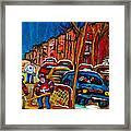 Verdun Rowhouses With Hockey - Paintings Of Verdun Montreal Street Scenes In Winter Framed Print by Carole Spandau