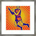 Aussie Rules Player Jumping Ball Framed Print by Aloysius Patrimonio