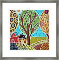 Barn Trees And Garden Framed Print by Karla Gerard