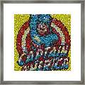 Captain America Mm Mosaic Framed Print by Paul Van Scott