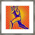 Cricket Sports Batsman Batting Framed Print by Aloysius Patrimonio