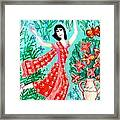 Dancer In Red Sari Framed Print by Sushila Burgess