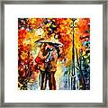 Kiss Under The Rain Framed Print by Leonid Afremov