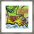 Louisiana Cartoon Map Framed Print by Kevin Middleton