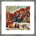 Montreal Street In Winter Framed Print by Carole Spandau