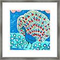 Peacock And Lily Pond Framed Print by Sushila Burgess