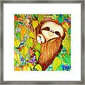 Rain Forest Survival Mother And Baby Three Toed Sloth Framed Print by Nick Gustafson