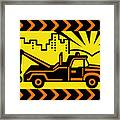 Retro Tow Truck Framed Print by Aloysius Patrimonio