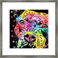 Thoughtful Pitbull I Heart U Framed Print by Dean Russo