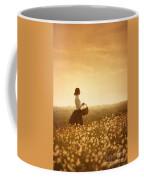 Edwardian Woman In A Meadow At Sunset Coffee Mug by Lee Avison