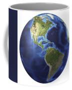 3d Rendering Of Planet Earth, Centered Coffee Mug by Leonello Calvetti