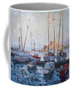 Boats In Rhodes Greece  Coffee Mug by Ylli Haruni