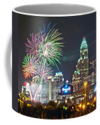 4th Of July Firework Over Charlotte Skyline Coffee Mug by Alex Grichenko