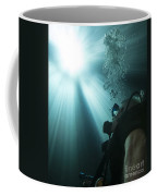 A Scuba Diver Surfacing And Looking Coffee Mug by Michael Wood