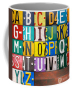 Alphabet License Plate Letters Artwork Coffee Mug by Design Turnpike