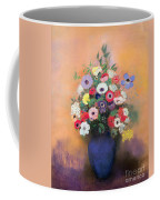 Anemones And Lilac In A Blue Vase Coffee Mug by Odilon Redon