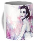 Audrey Hepburn Purple Watercolor Portrait Coffee Mug by Olga Shvartsur
