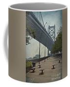Ben Franklin Bridge And Pier Coffee Mug by Tom Gari Gallery-Three-Photography