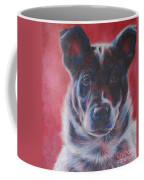 Blue Merle On Red Coffee Mug by Kimberly Santini