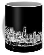 Chicago Skyline Fractal Black And White Coffee Mug by Adam Romanowicz