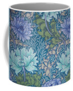 Chrysanthemums In Blue Coffee Mug by William Morris