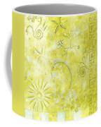 Coastal Decorative Citron Green Floral Greek Checkers Pattern Art Green Whimsy By Madart Coffee Mug by Megan Duncanson
