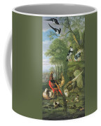 Cock Pheasant Hen Pheasant And Chicks And Other Birds In A Classical Landscape Coffee Mug by Pieter Casteels