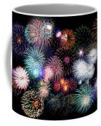 Colorful Fireworks Of Various Colors In Night Sky Coffee Mug by Stephan Pietzko