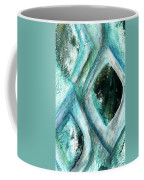 Contemporary Abstract- Teal Drops Coffee Mug by Linda Woods